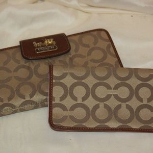COACH Checkbook Cover & Wallet Signature Brown